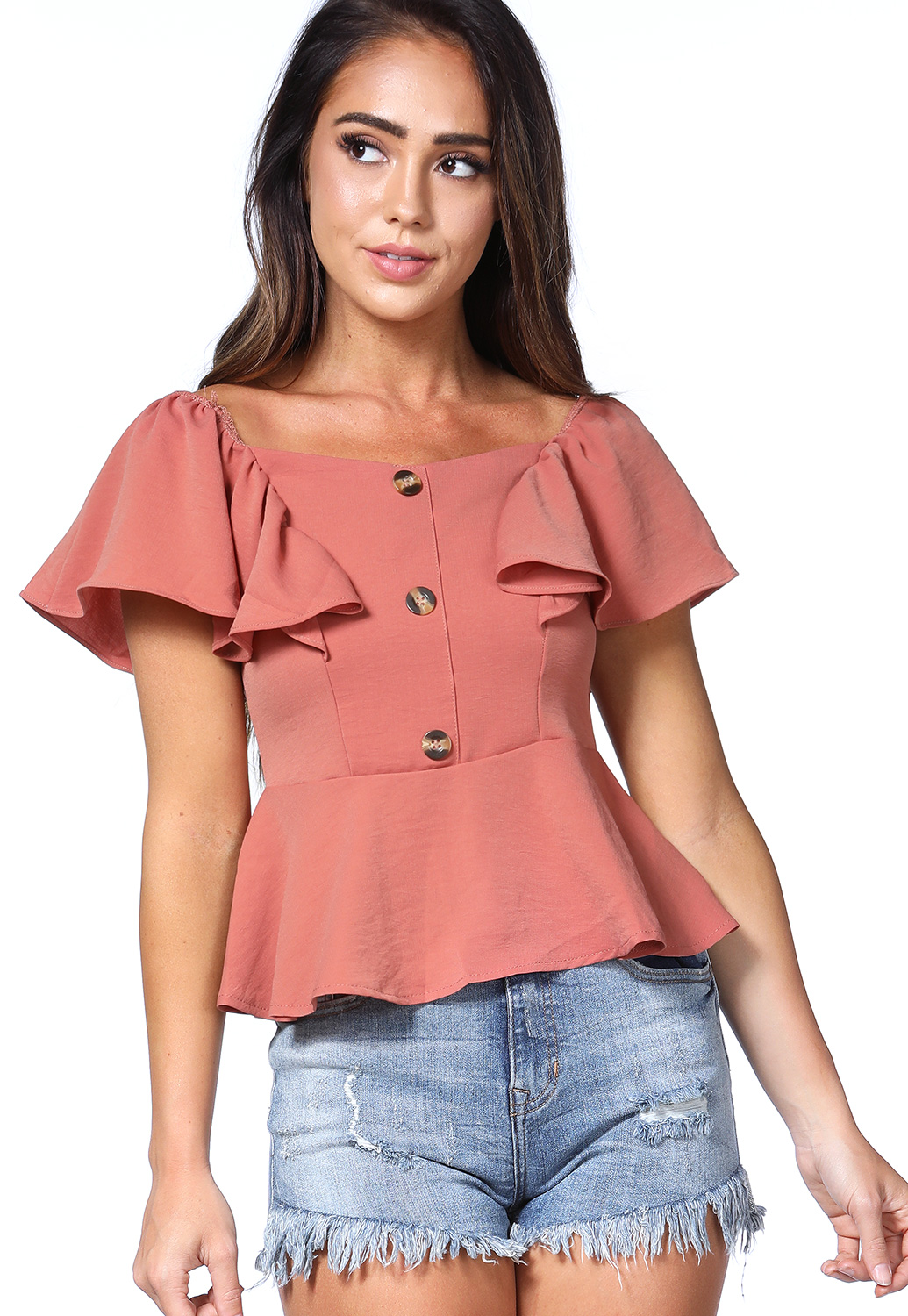 Off The Shoulder Flare Trim Top
