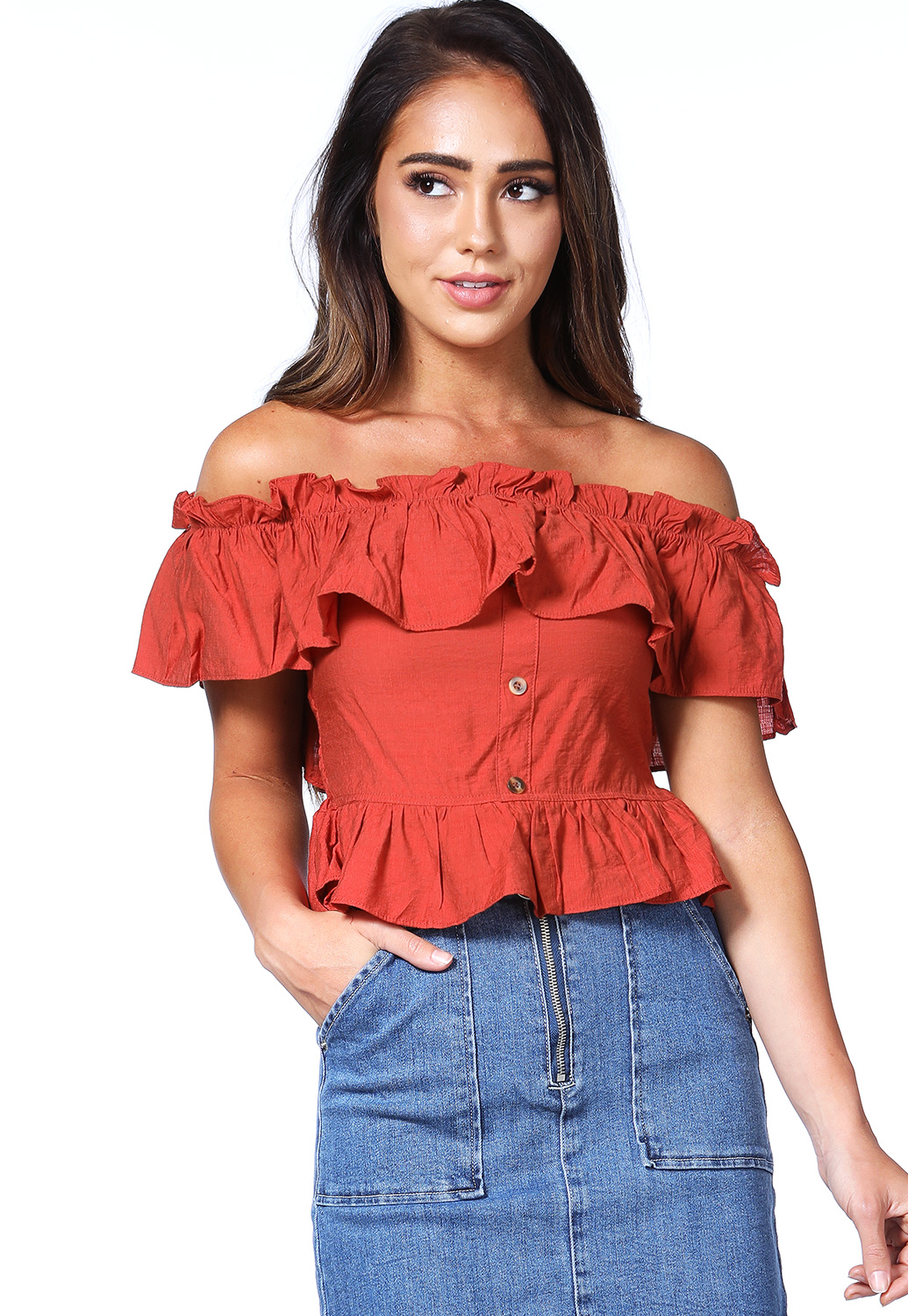 Flare Trim Smocked Top