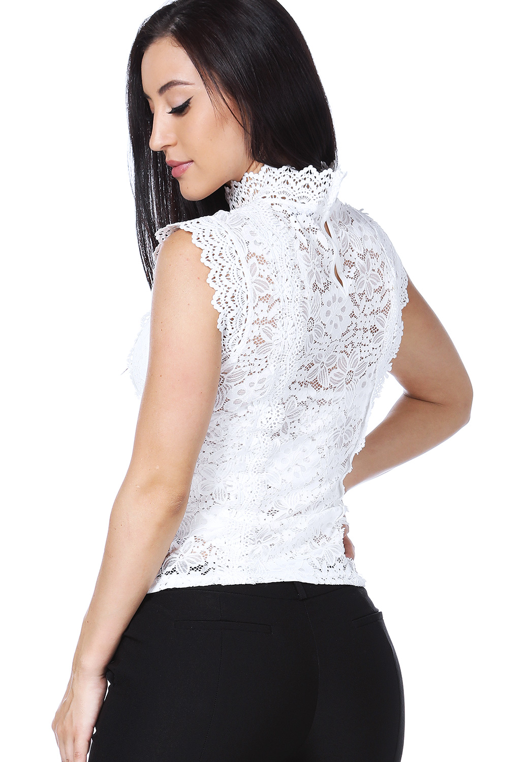 Floral Lace Crochet Trim Top