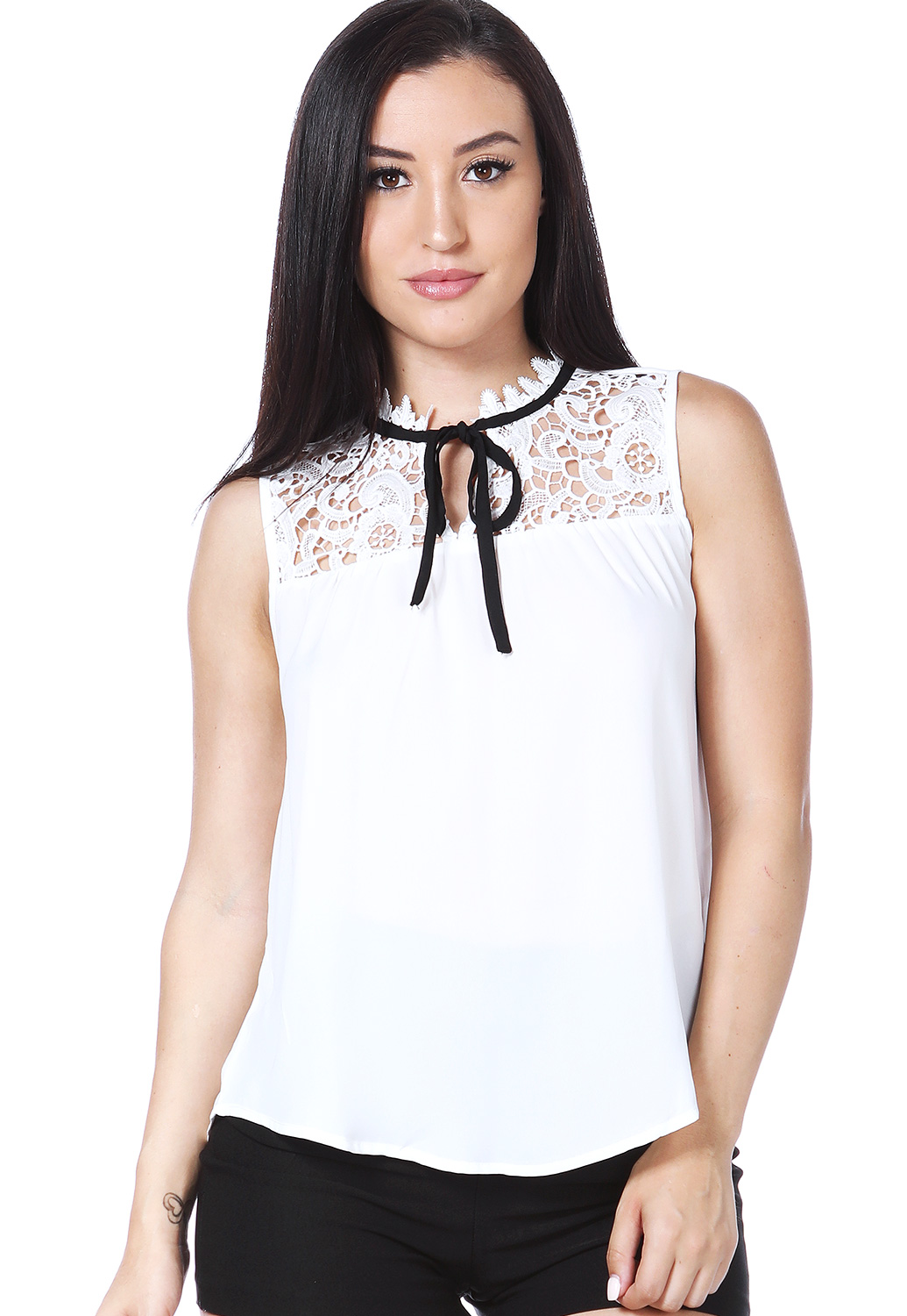 Crochet Trim Tie Neck Dressy Top