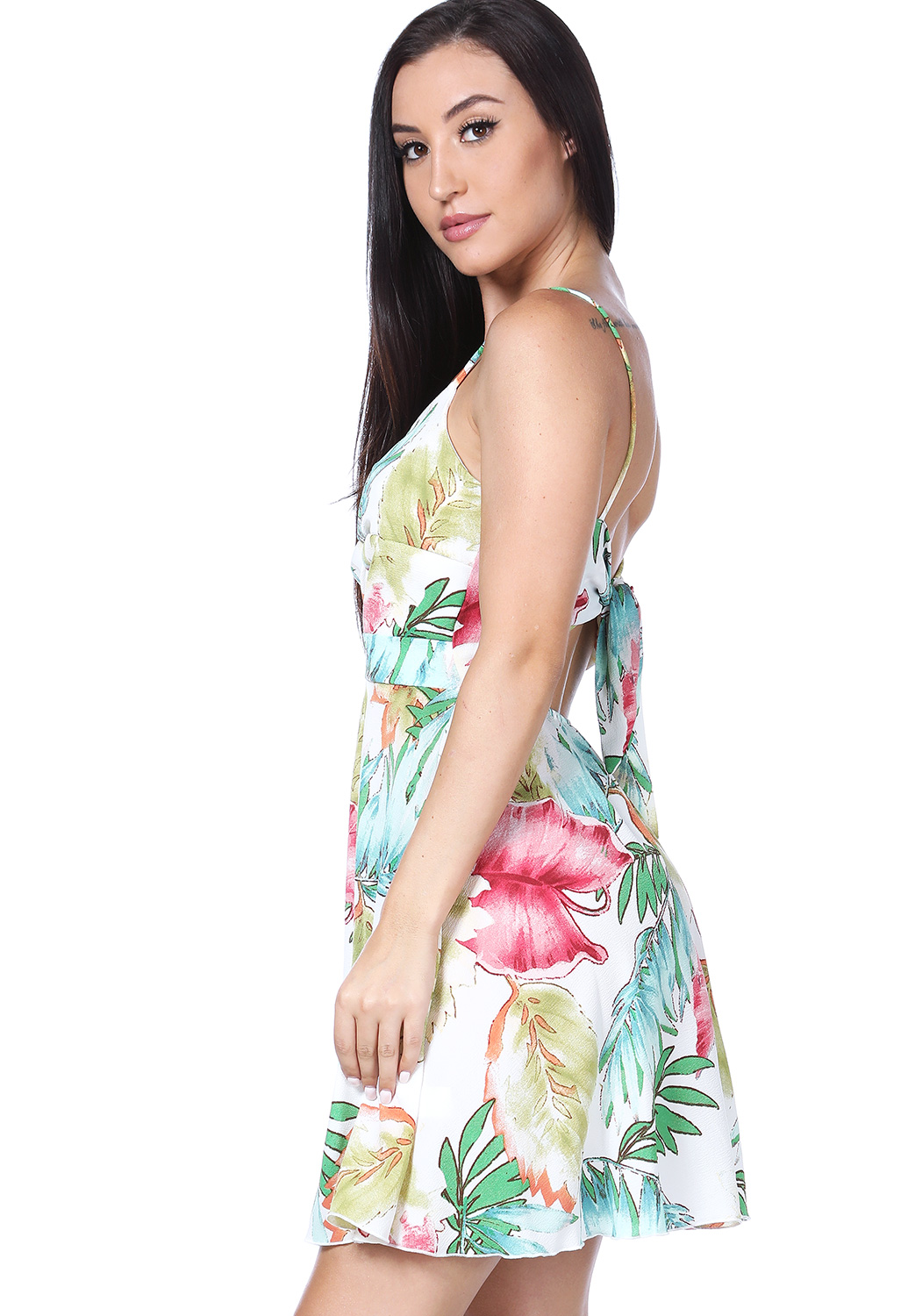 Floral Tie Back Mini Dress
