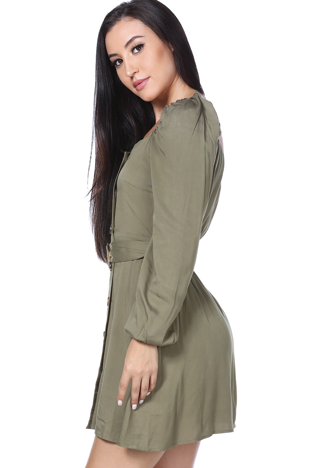 Surplice Front Tie Mini Dress