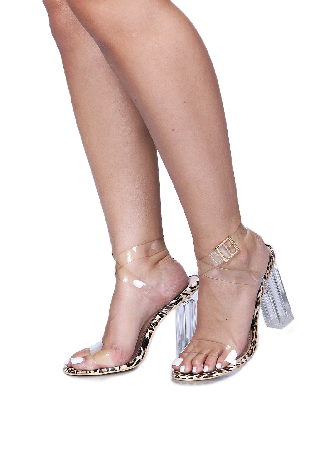Cheeta Print Clear Heels