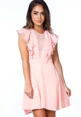Lace Flare Trim Mini Dress