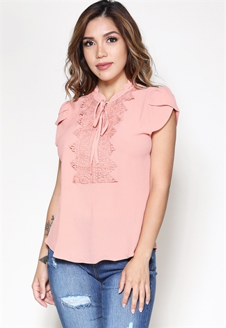 Floral Lace-Neck Dressy Top