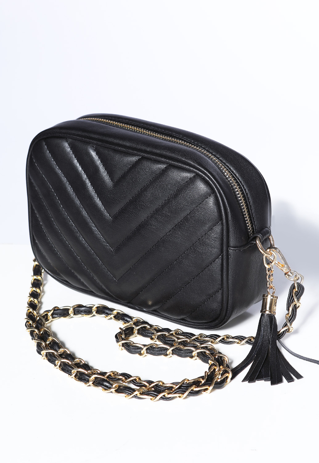 Chevron Chain-Strap Crossbody