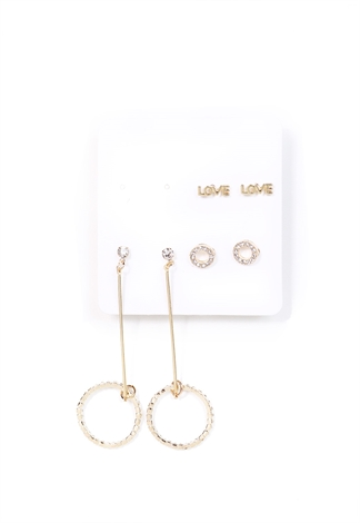 Rhinestone Geo Earrings Set