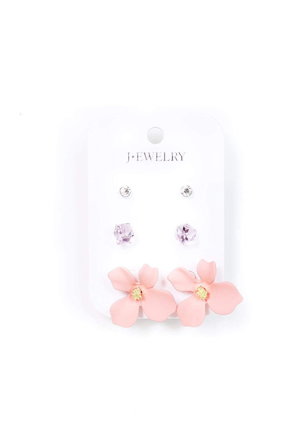 Floral/Faux Stone Earing Set