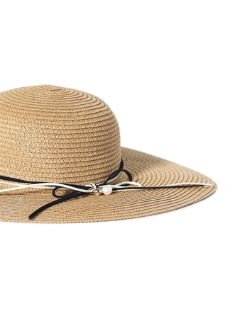 Faux Pearl Floppy Straw Hat