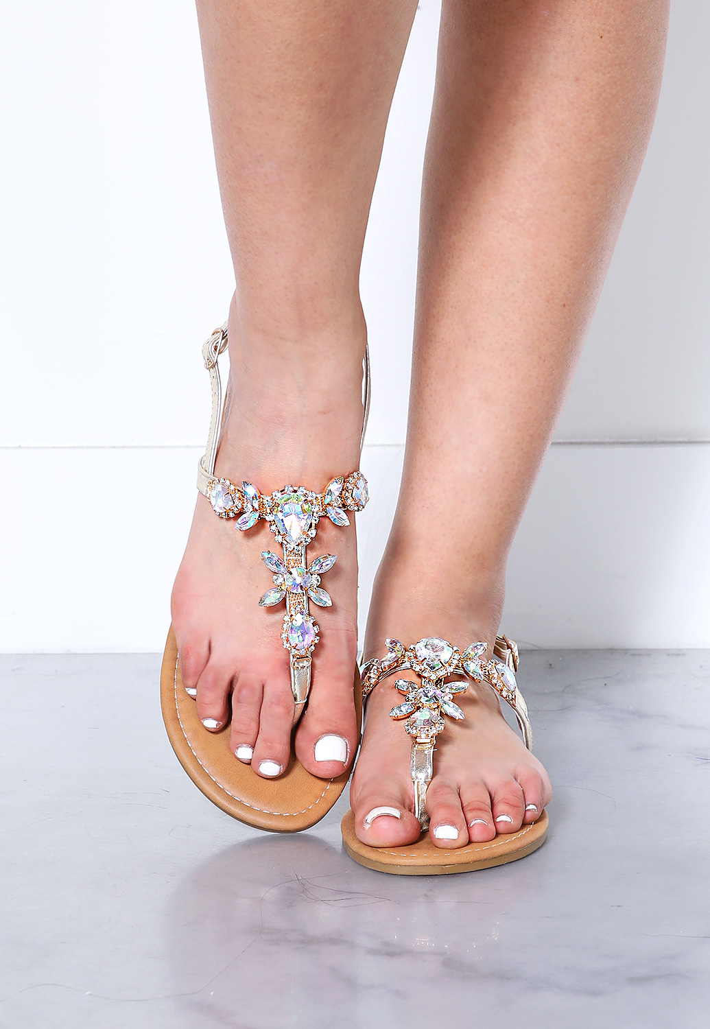 Embellished Faux Jewelry Sandals