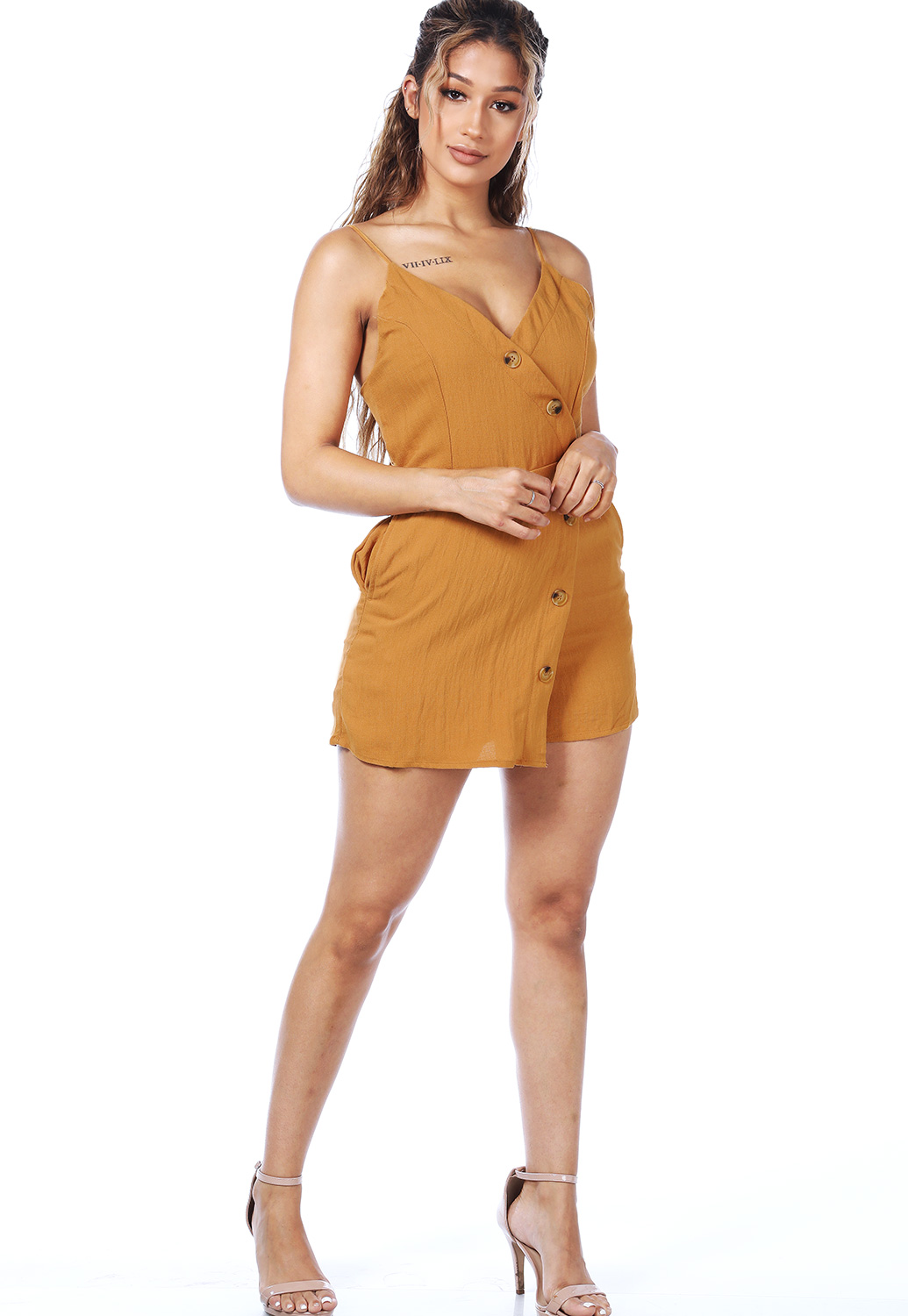 Surplice Button Detail Romper