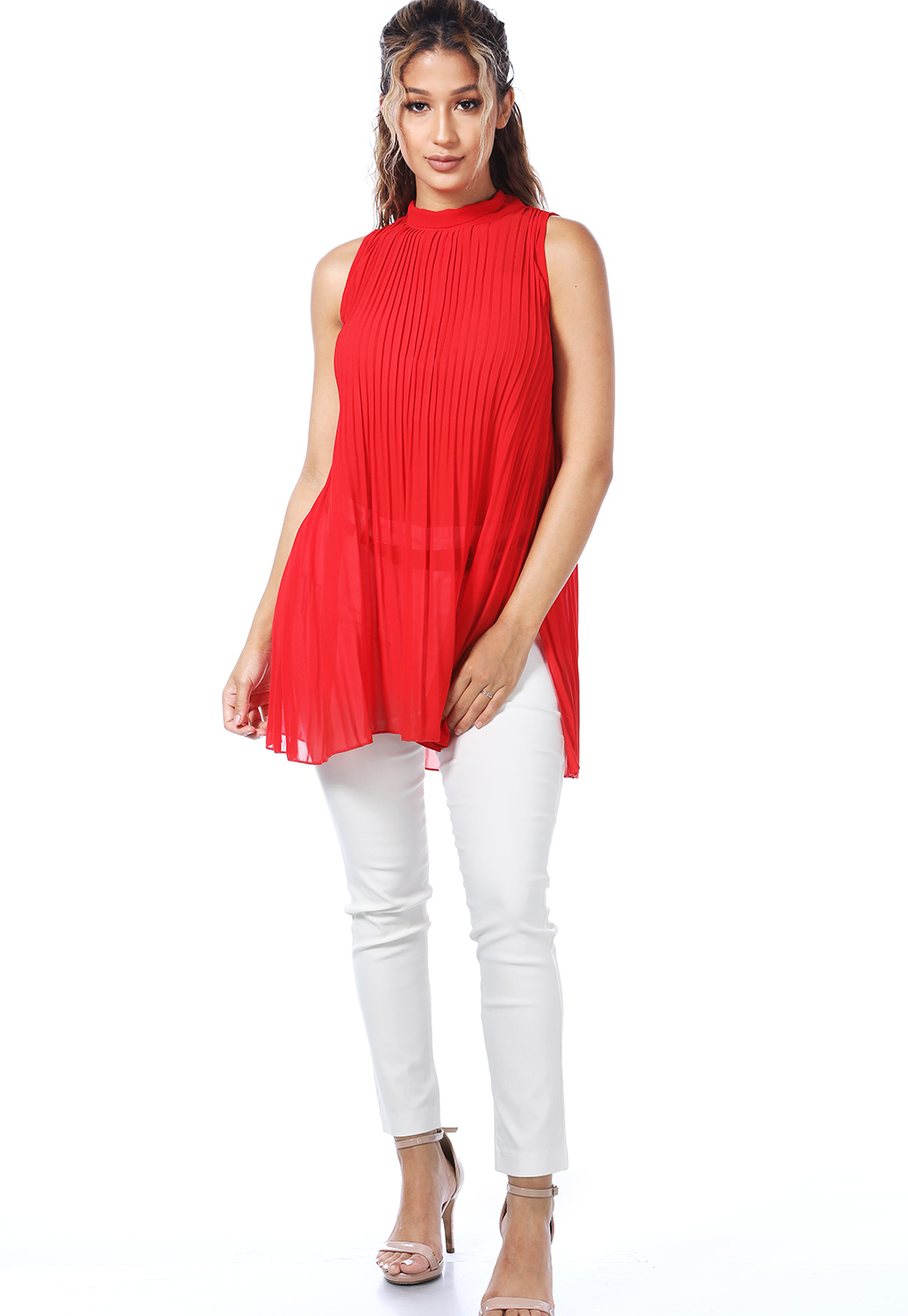 Pleated Tie Back Top