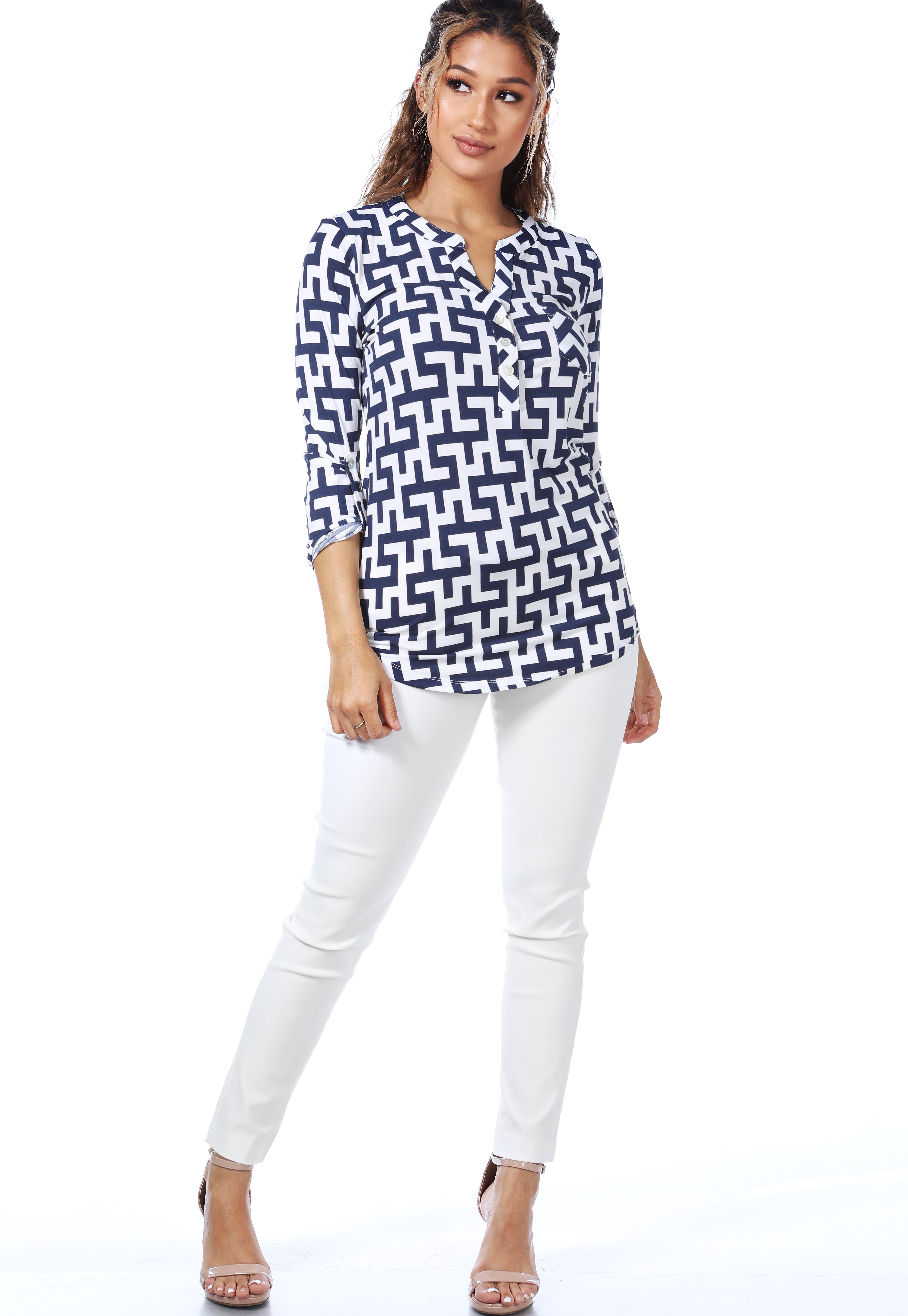 Abstract Print Dressy Blouse