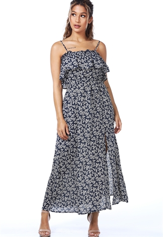 Ribbed Floral Maxi Dress
