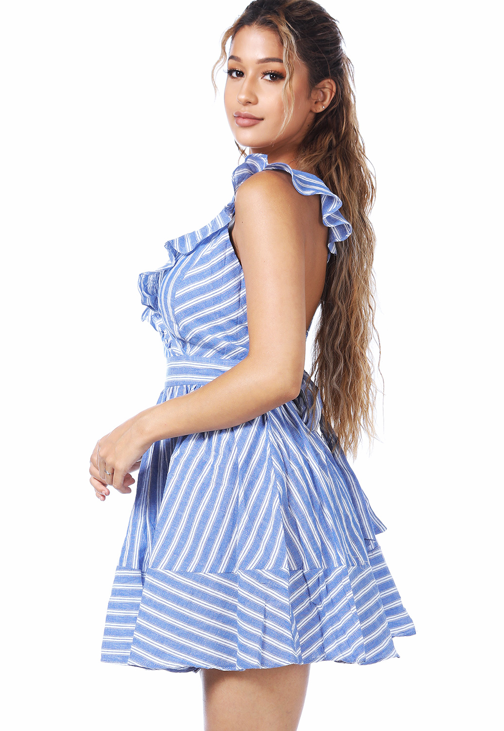 Striped Ruffle Trim Mini Dress