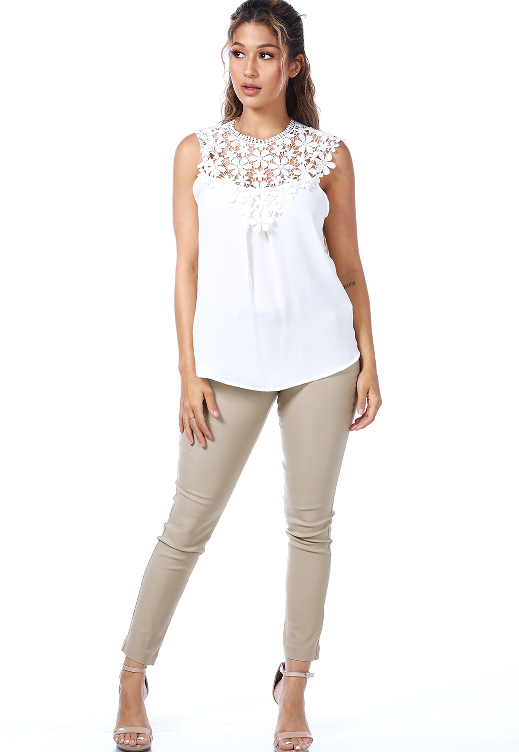 Floral Crochet Trim Top