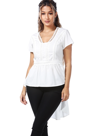 Embroidered Hi-Lo Top