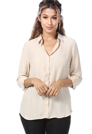 Chiffon Button Down Shirt