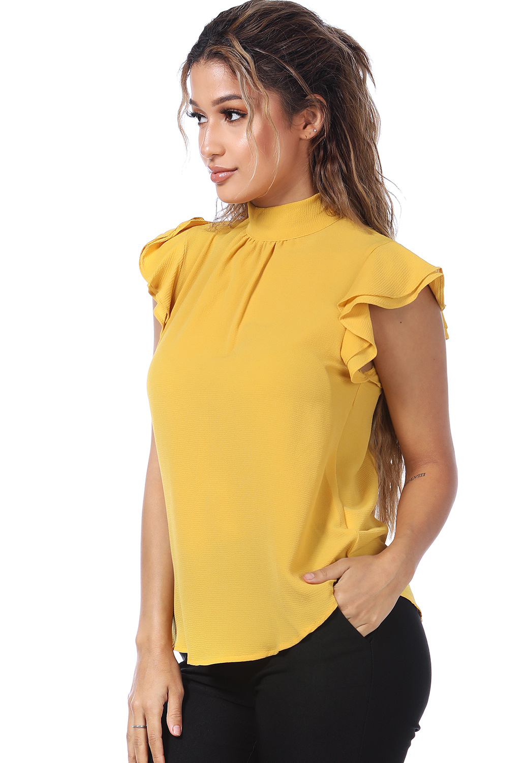 Ruffle Trim Tie Back Top