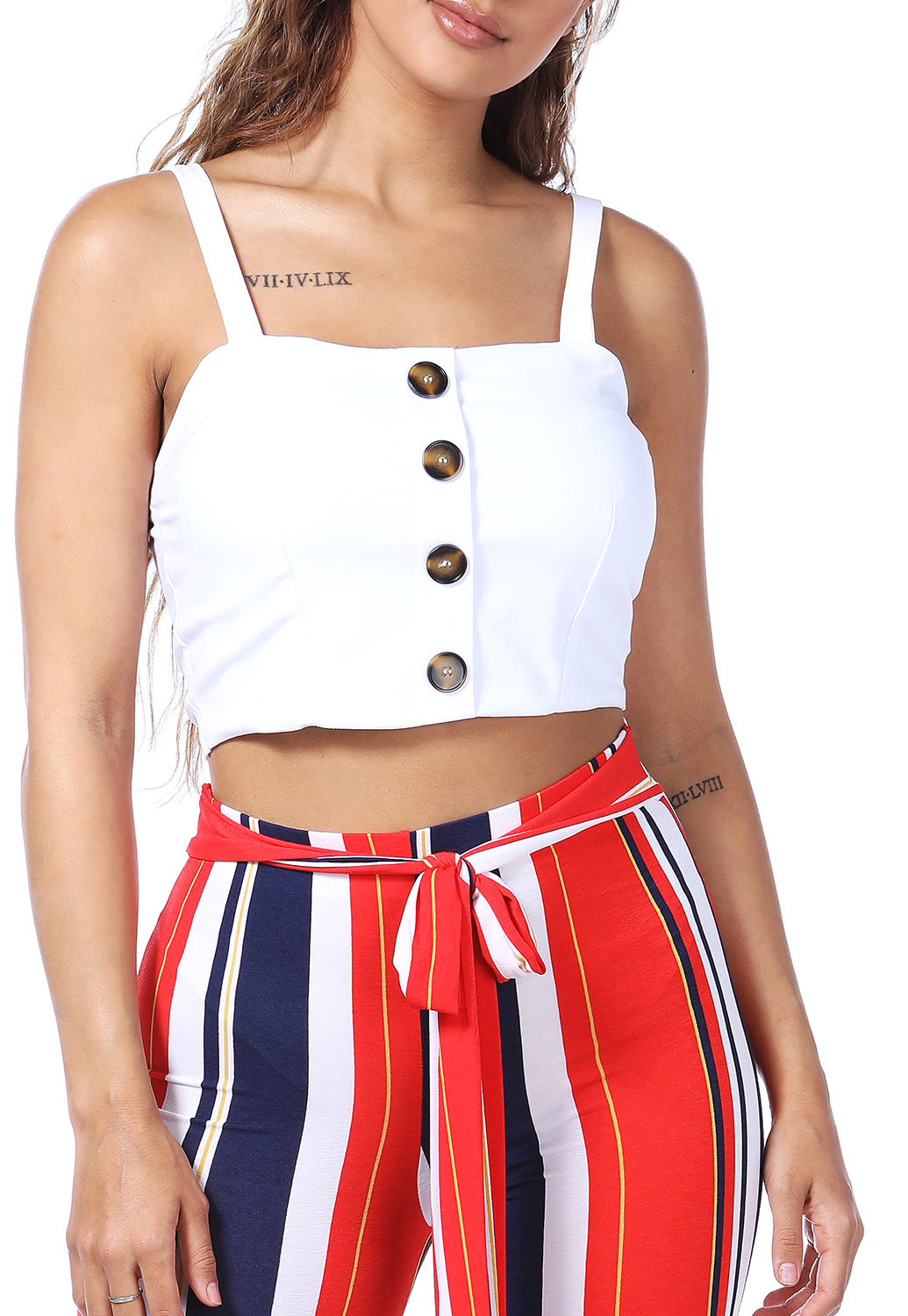 Button Detail Crop Top