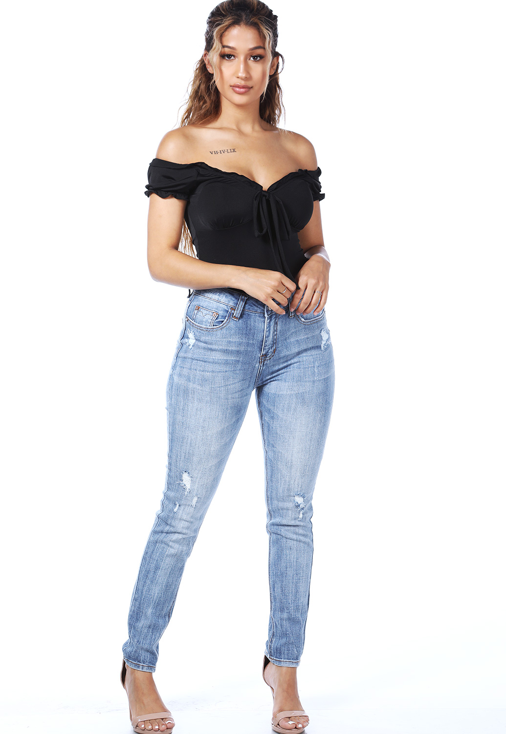Off The Shoulder Tie Front Bodysuit
