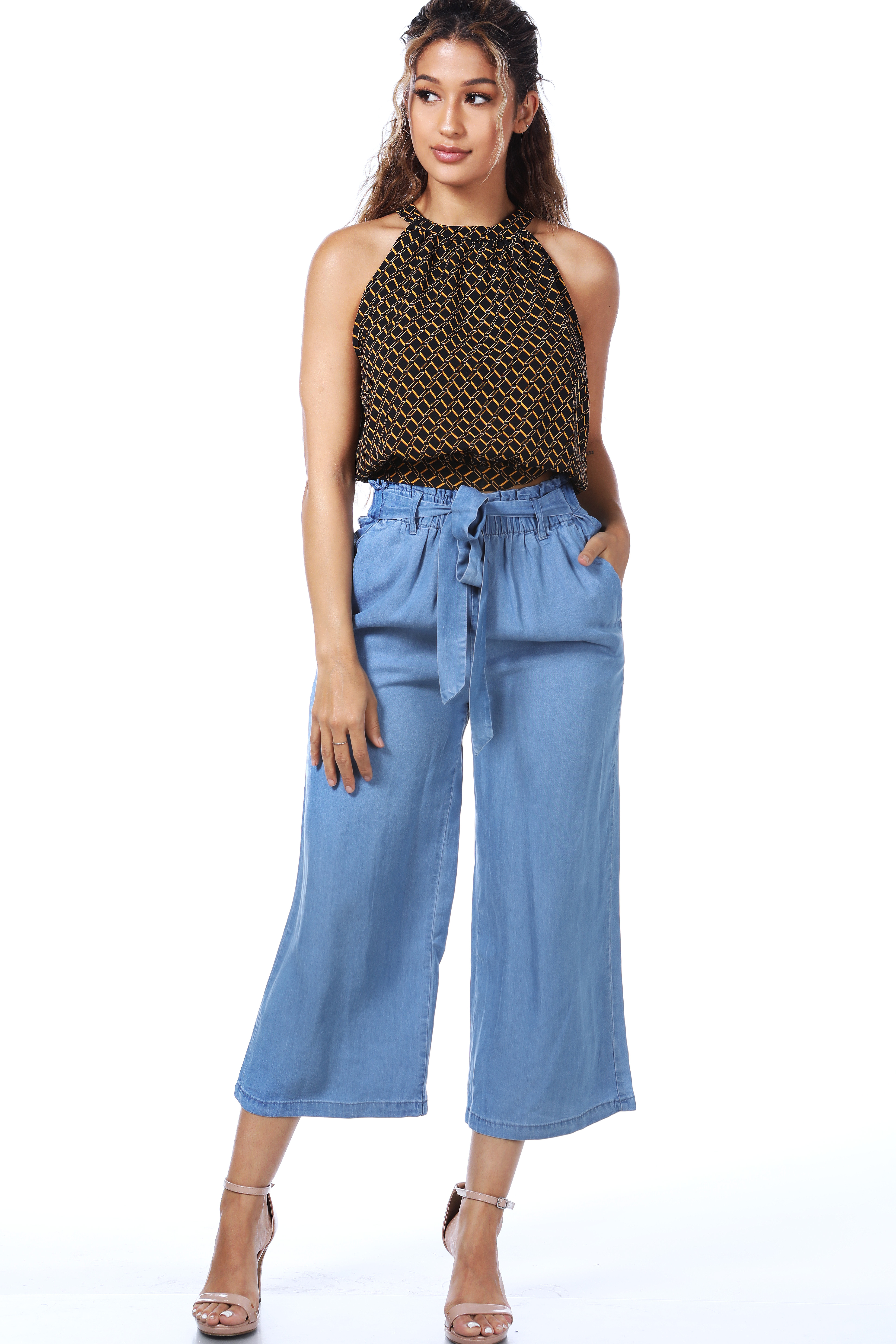 Belted Skinny Dressy Pants