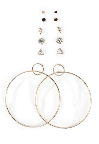 Faux Cubic And Hoop Earring Set