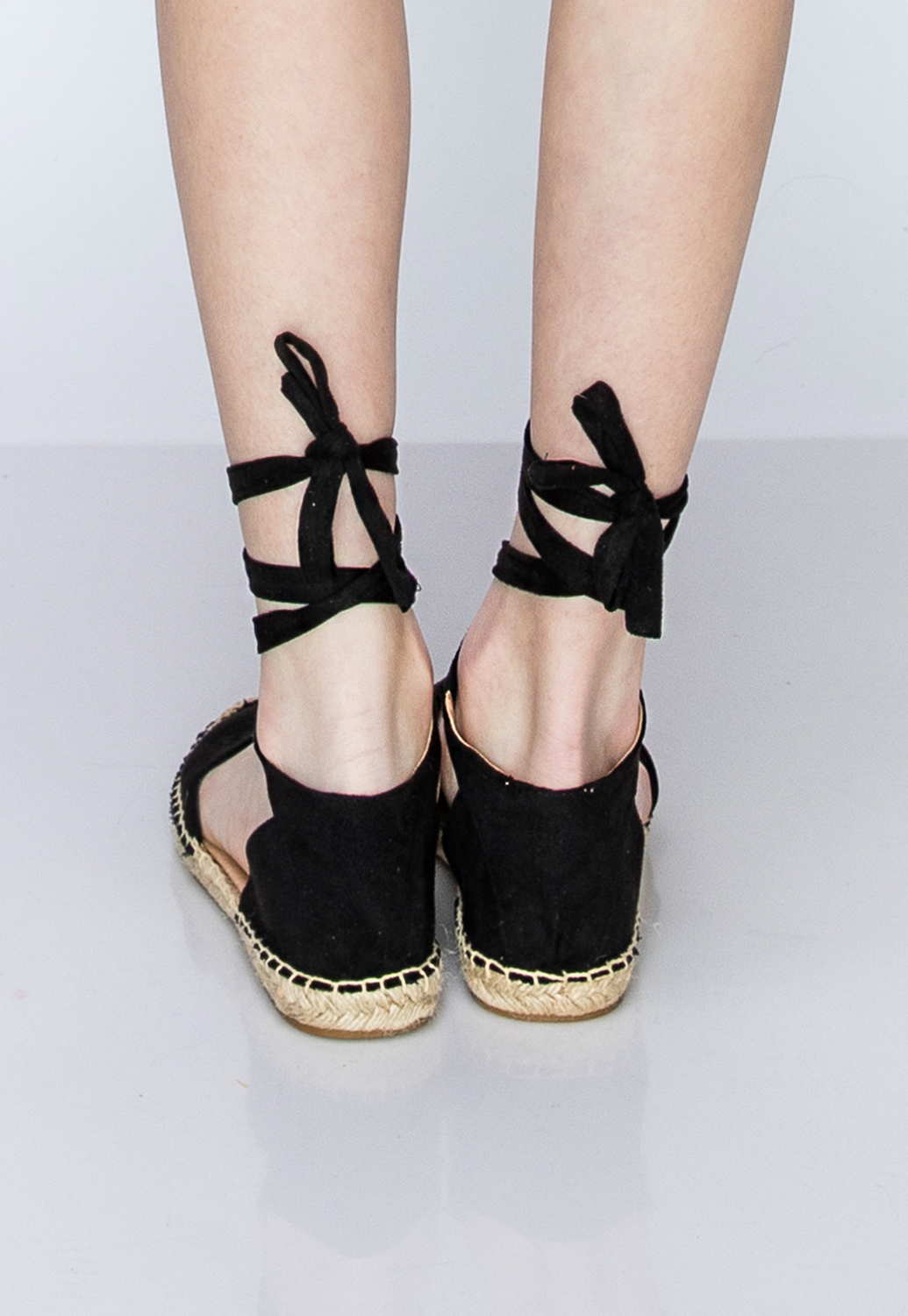 Faux Leather Lace Up Flats
