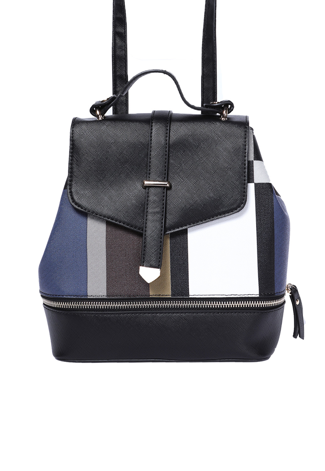 Plaid Detail Zipper Backpack