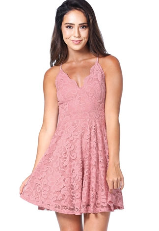 Floral Lace Back Open Mini Dress