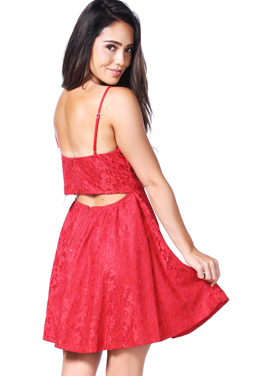 Lace Panel Fit And Flare Mini Dress