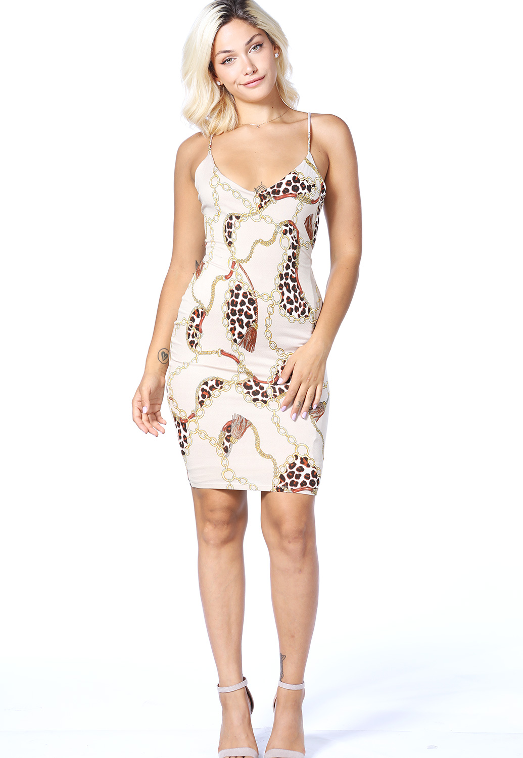 Chain Print Bodycon Dress