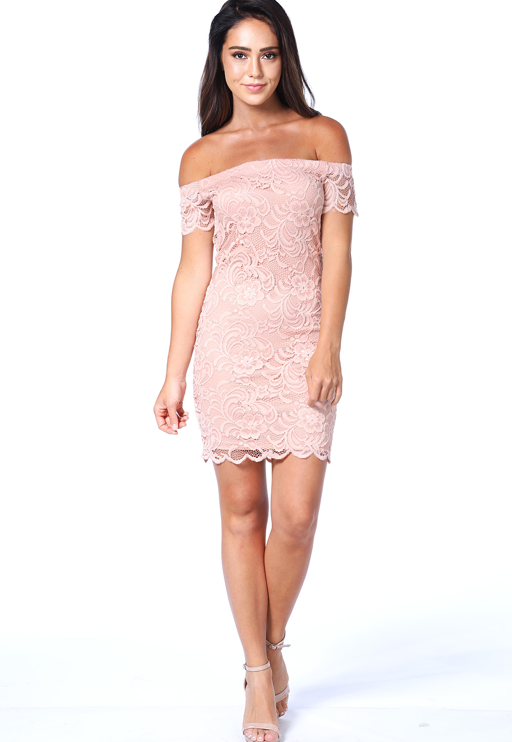 Floral Lace Overlay Off-The-Shoulder Dress