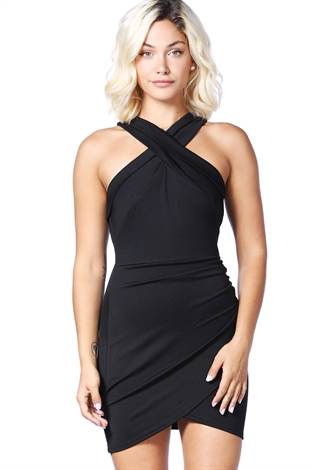 Front Cross Bodycon Dress