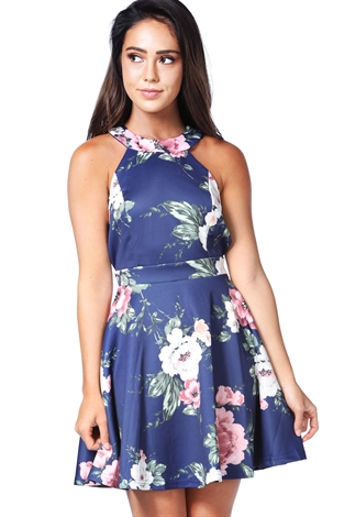 Floral Halter Neck Mini Dress