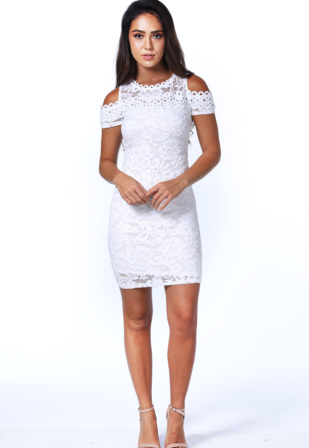 Lace Panel Open Shoulder Mini Dress