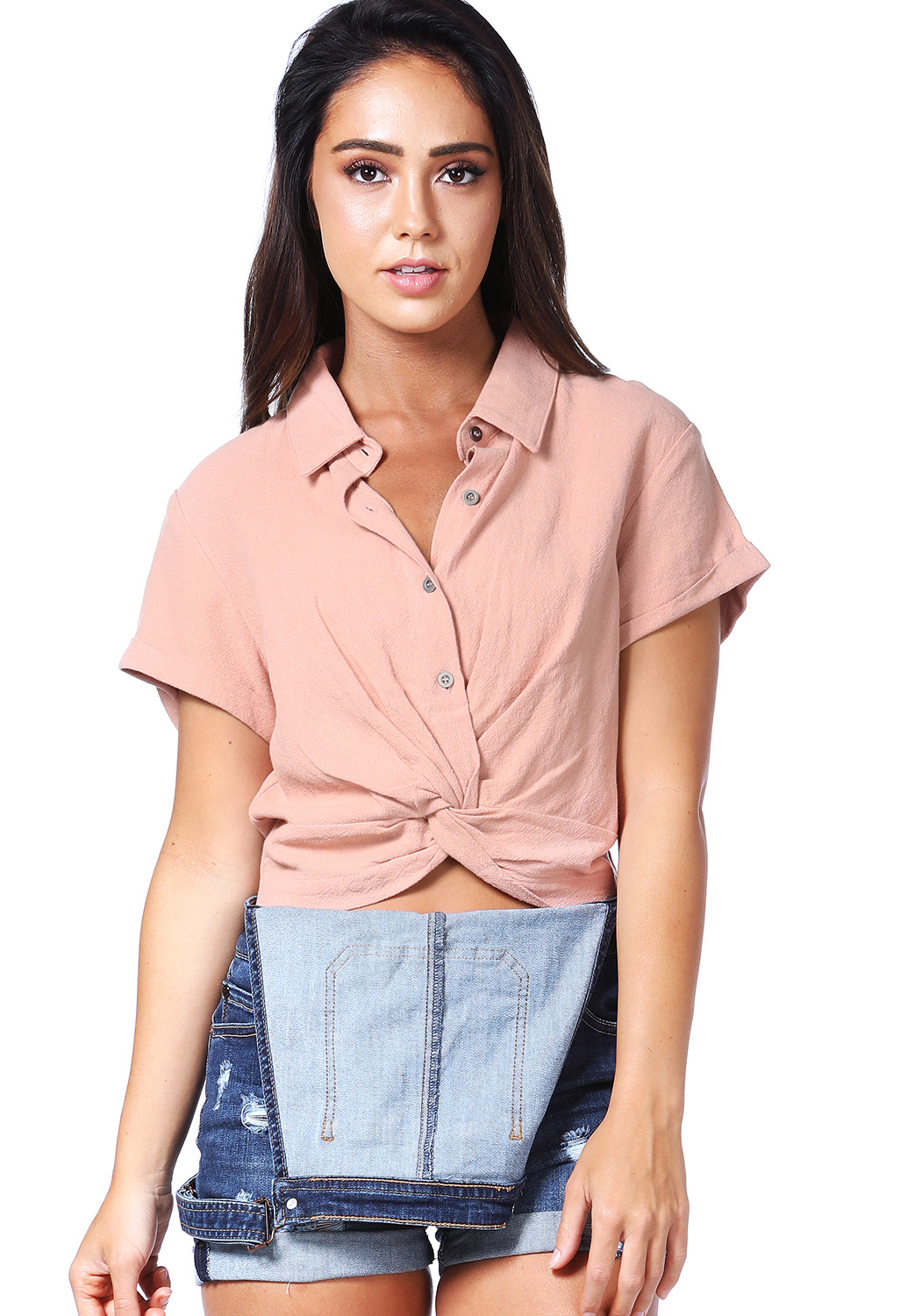 Twist-Front Button Detail Top