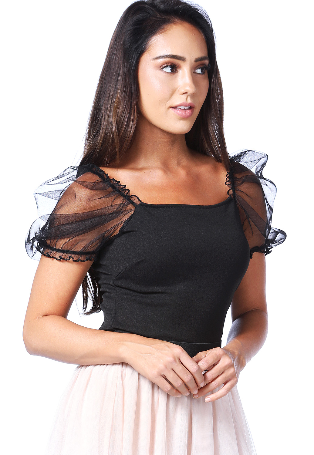 Sheer Mesh Sleeve Top