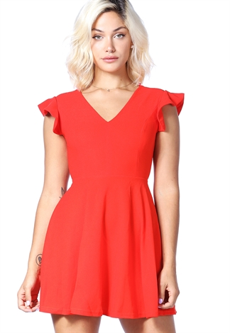 V-Neck Ruffle Trim Mini Dress