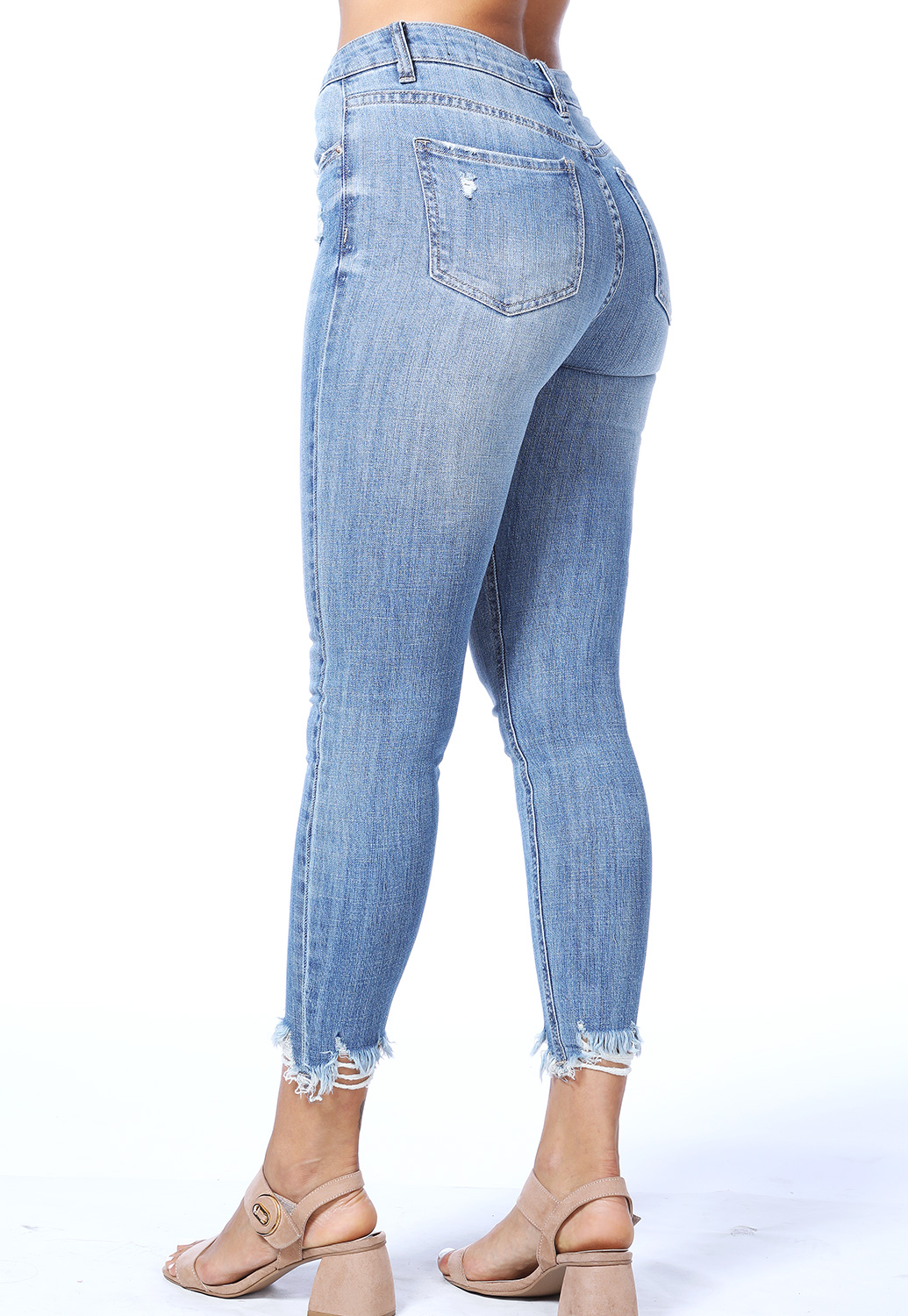 High Rise Raw Hem Skinny Jeans