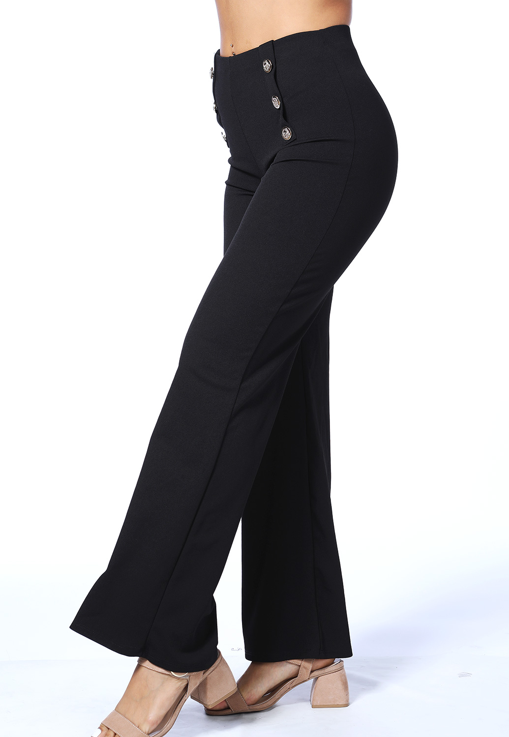Front Button Flare Pants