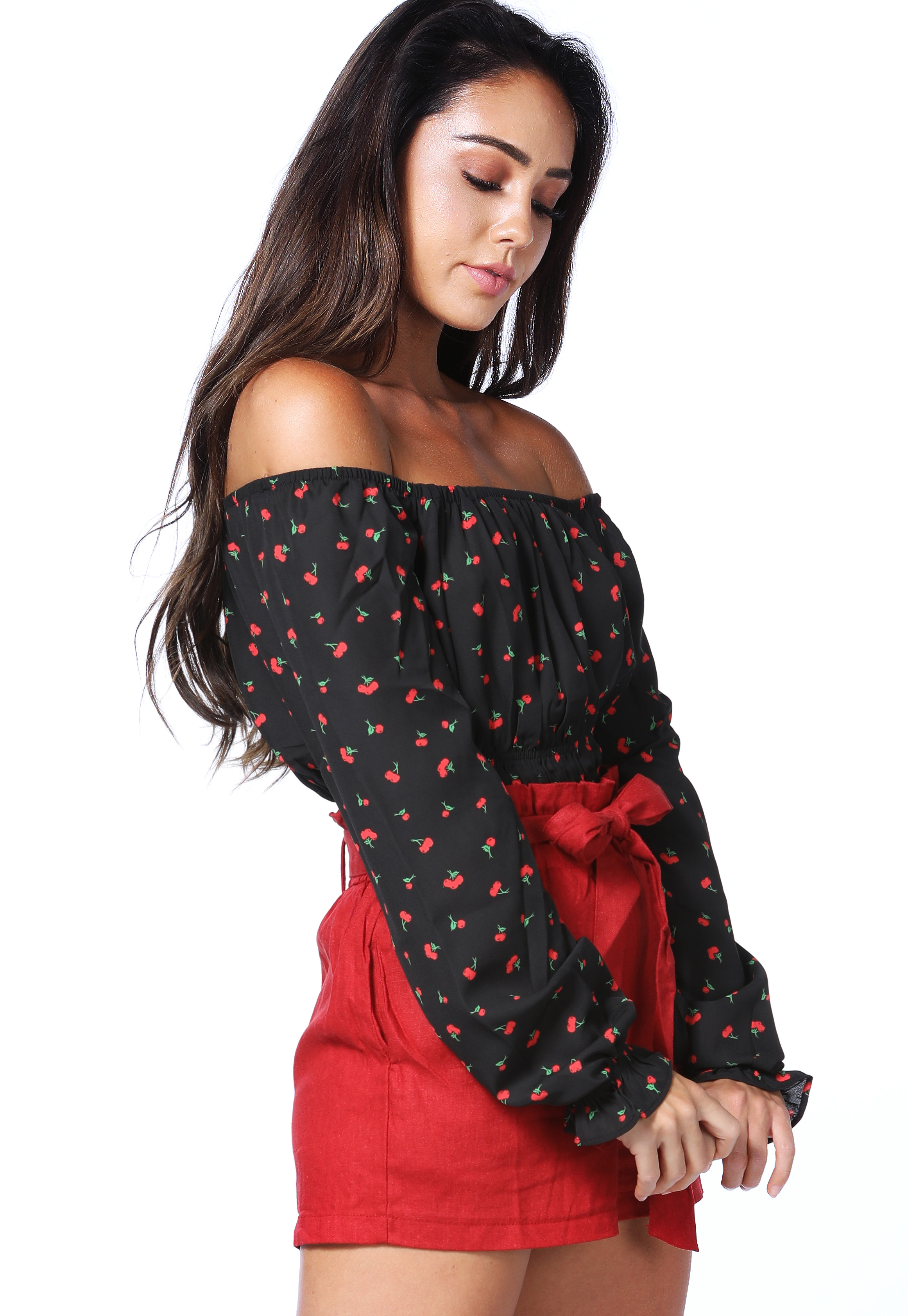 Cherry Print Smocked Top