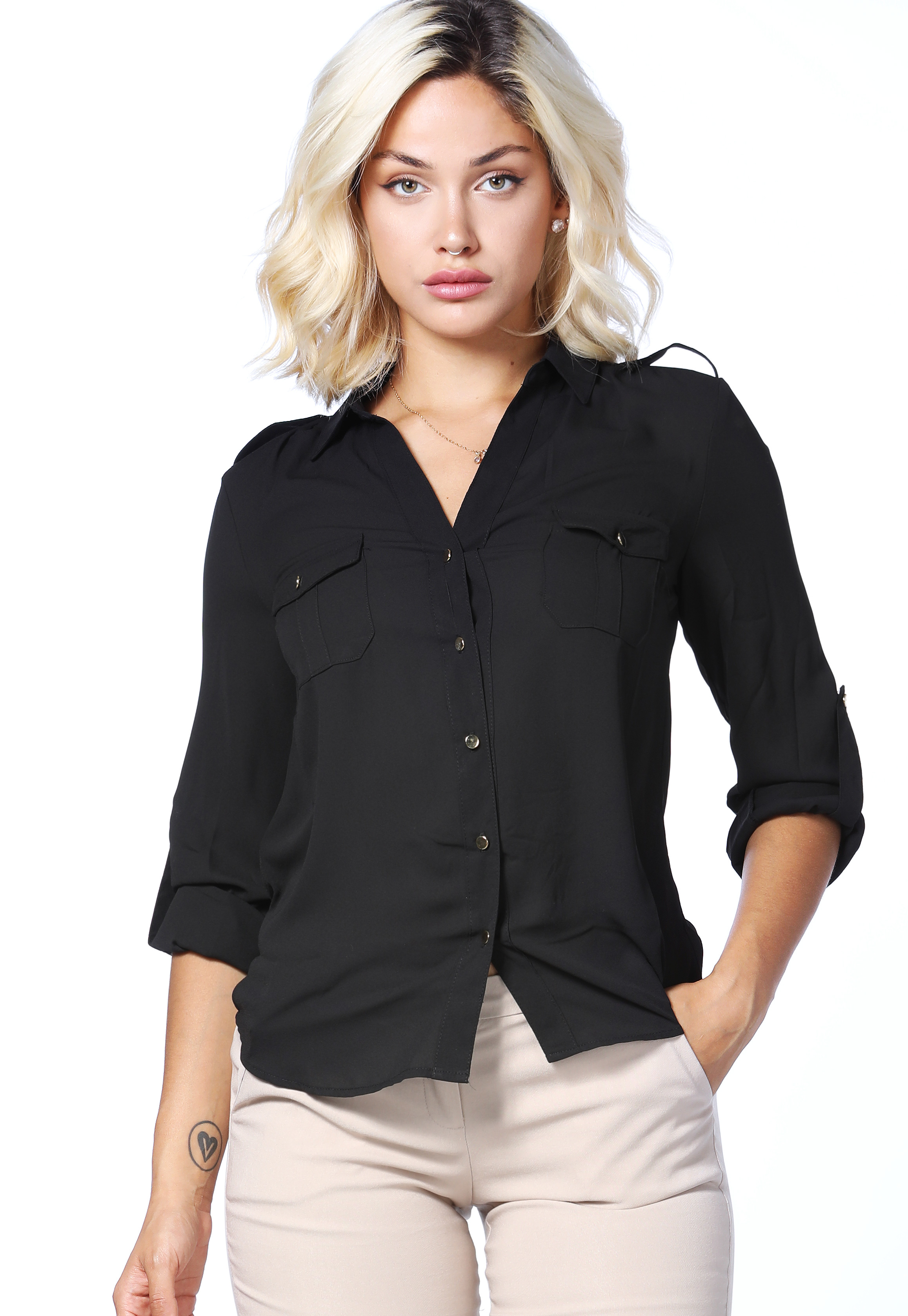 Sheer Button Up Dressy Blouse