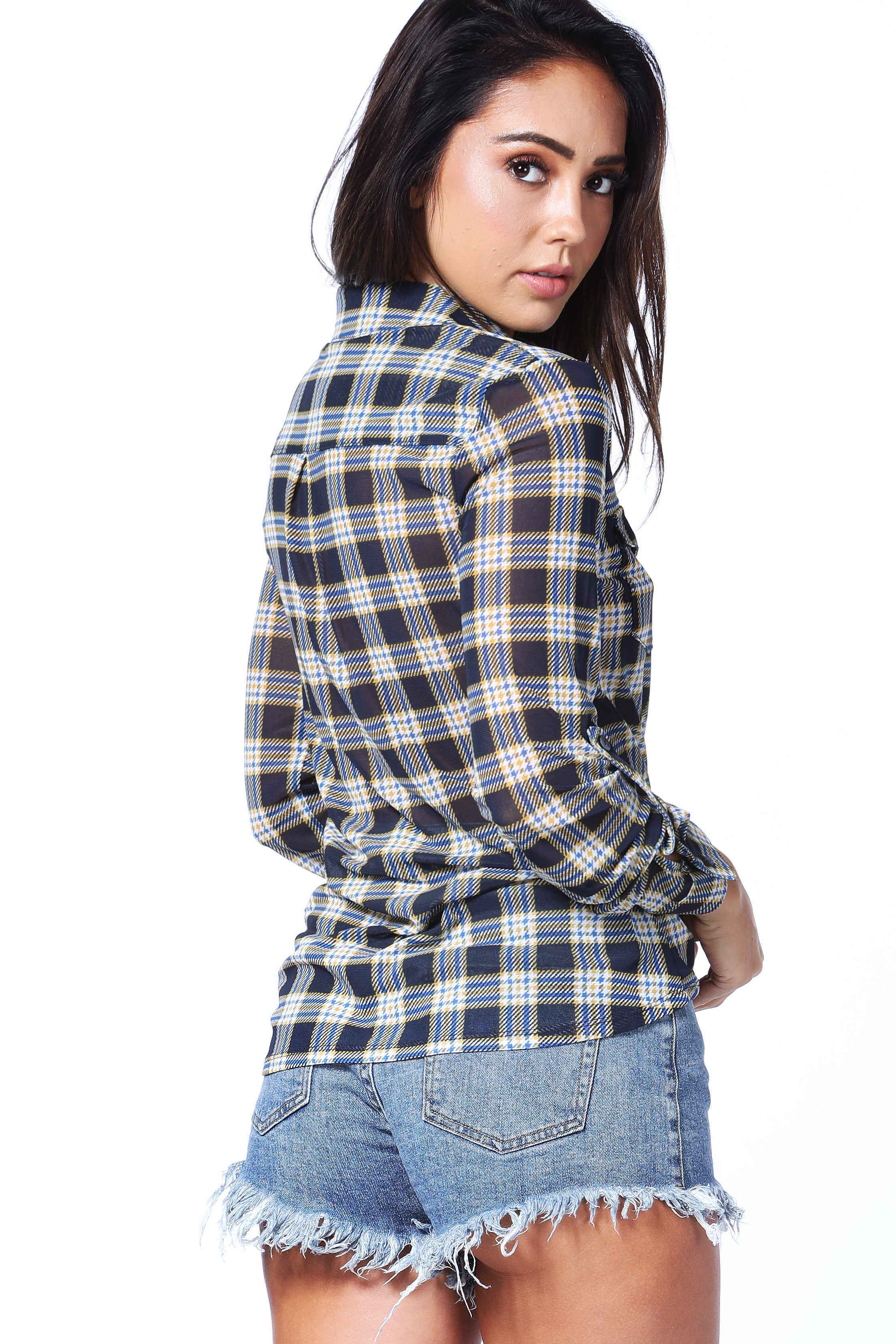 Glen Plaid Long Sleeve Top