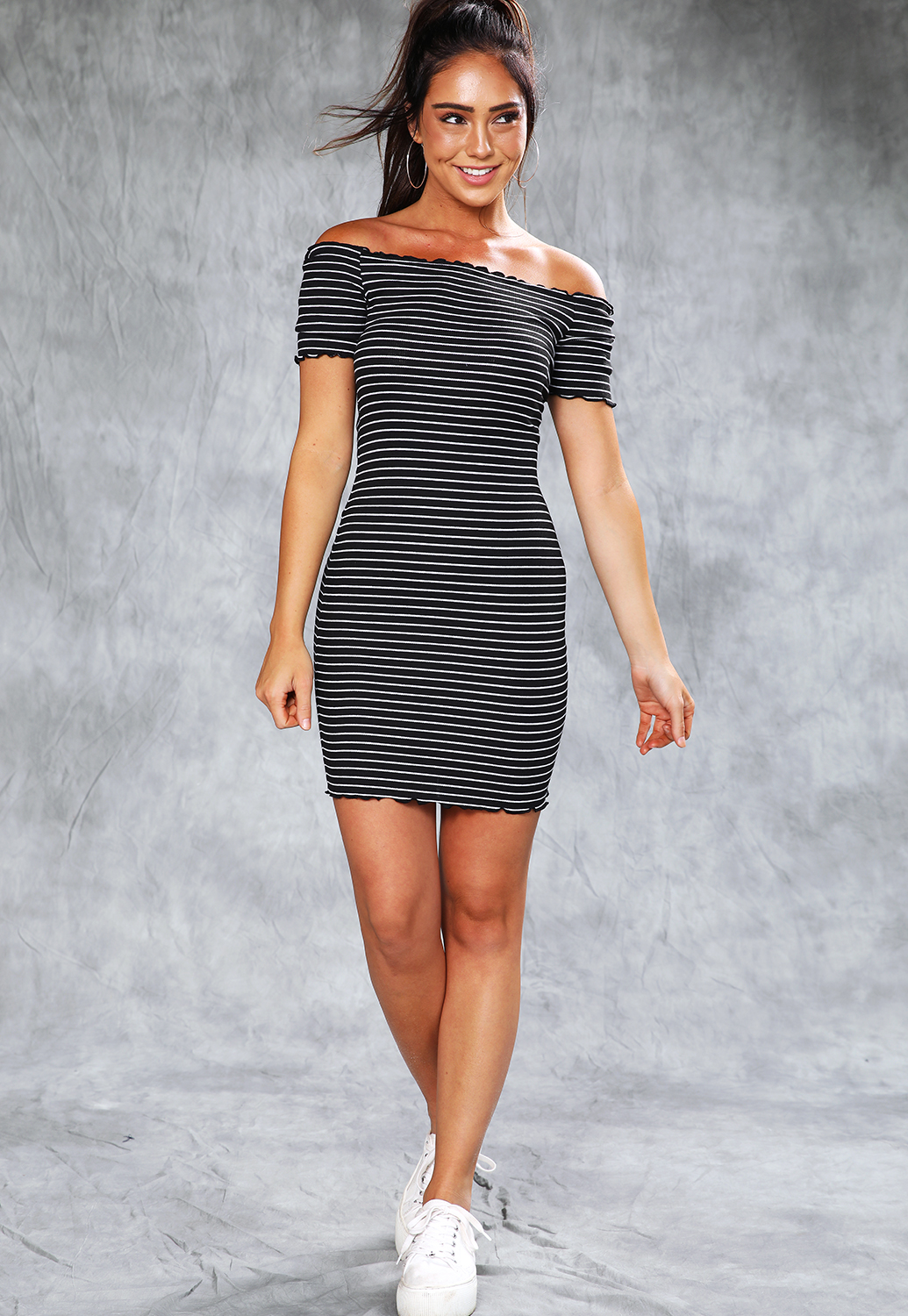 Striped Lettuce Edge Mini Dress
