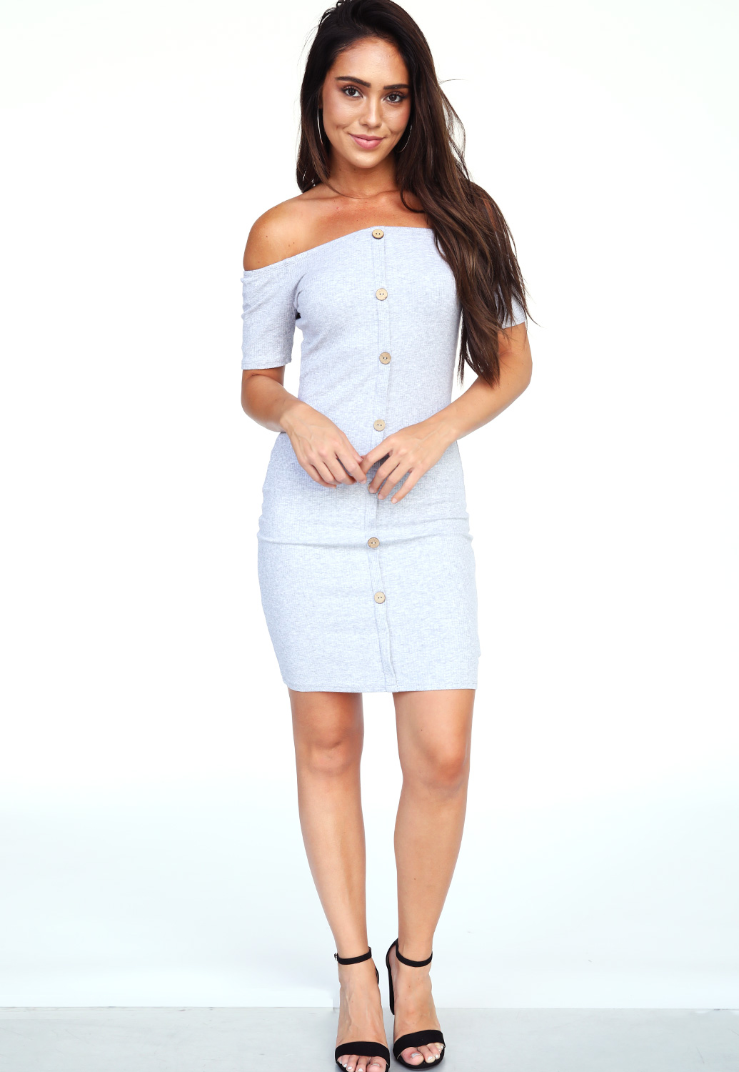 Ribbed Button Detail Mini Dress