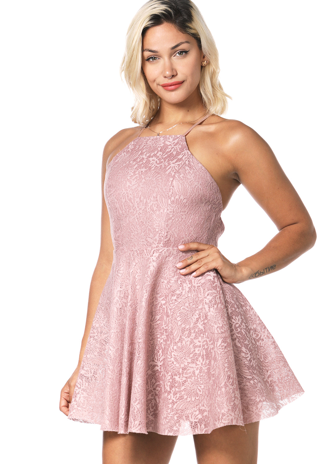 Lace Panel Fit & Flare Mini Dress