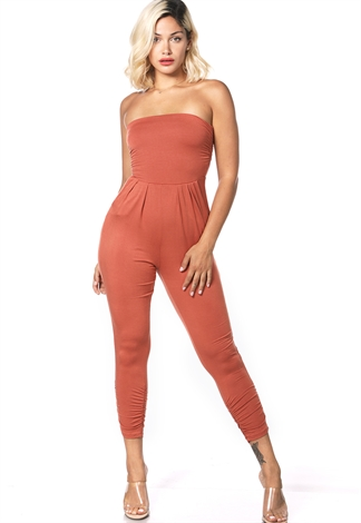 Stretch Knit Strapless Jumpsuit