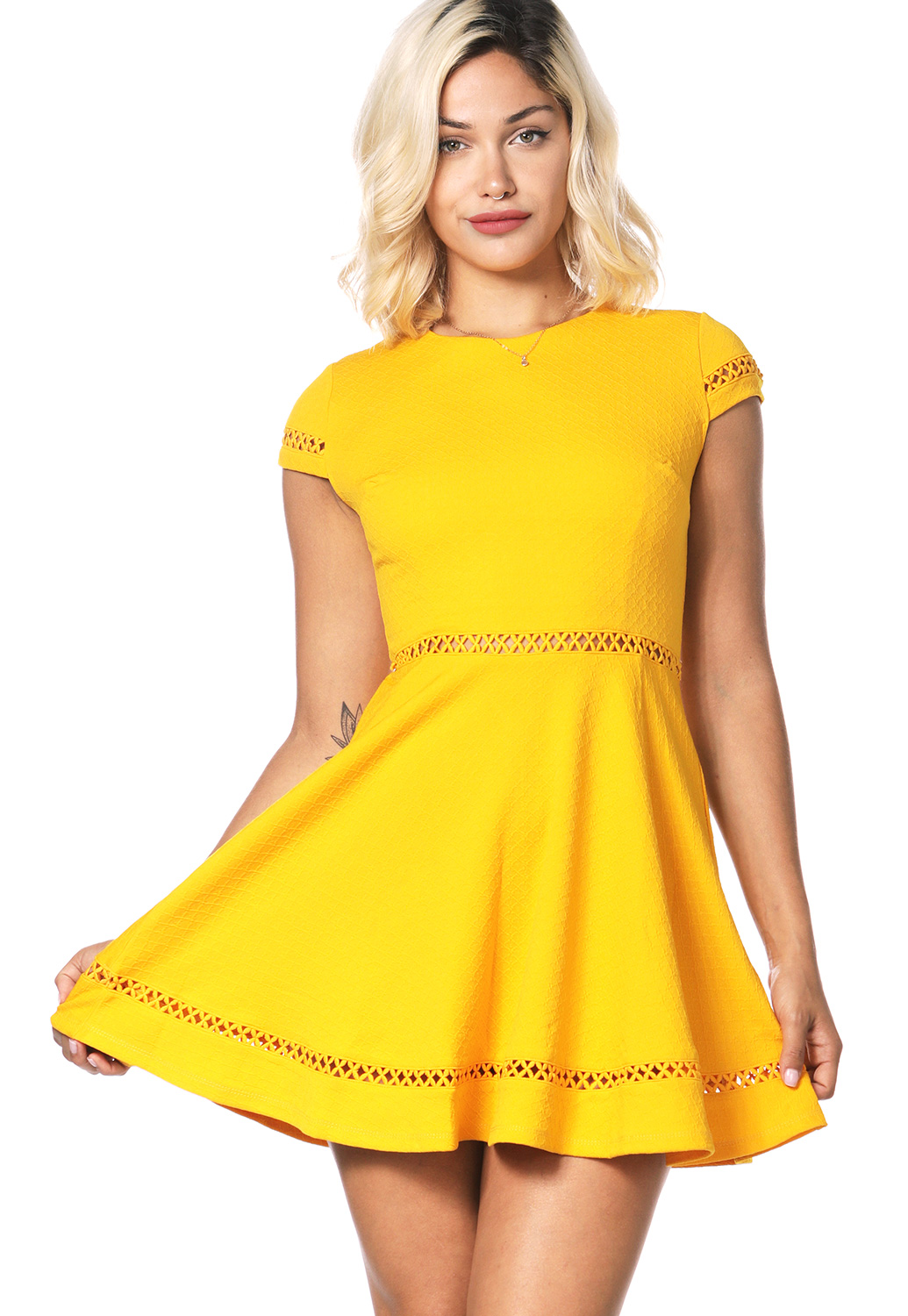 Crochet Trim Fit And Flare Mini Dress