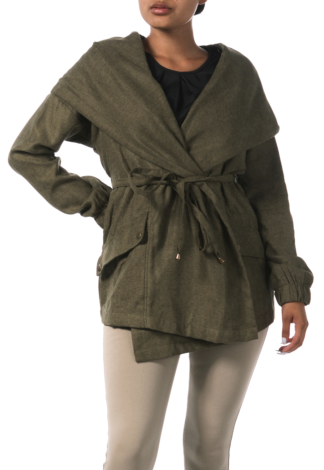 Tie Front Hooded Jacket
